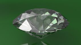 Close up of a diamond on a green background. 3d Royalty Free Stock Image