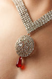 Close up of diamond necklace stock photos