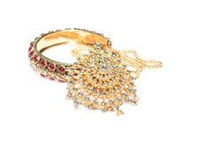 Close up of diamond necklace and bracelet on  white background Stock Photo