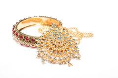 Close up of diamond necklace and bracelet on  white background Stock Photos