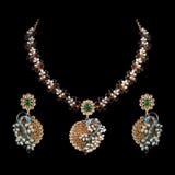 Close up of diamond necklace with diamond ear ring Stock Photos