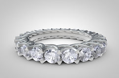 Close Up of a Diamond Ring on white background. Realistic Render of a beautiful diamond ring Royalty Free Stock Photo