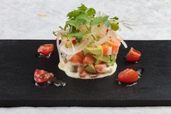 Close-up Diced salmon salad with avocado, tomato, onion, chilli, and coriander served in black rectangle stone plate on washi. Royalty Free Stock Photo