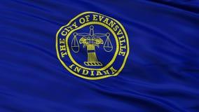 Close-up die Nationale Vlag van de Stad van Evansville, Indiana golven stock video