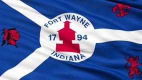 Close-up die Nationale Vlag van Fort Wayne City, Indiana golven stock footage