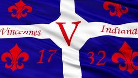 Close-up die Nationale Vlag van Vincennes-Stad, Indiana golven stock videobeelden