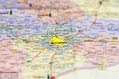 Close-up die van kaart Boekarest tonen Stock Afbeelding