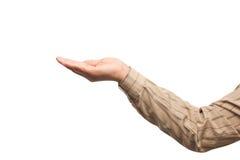 Close-up die van vrouwelijke hand terwijl geïsoleerd op wit gesturing Royalty-vrije Stock Foto's