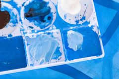 Close up of different color oil paint, Patterns or backgrounds of various colors. stock photography