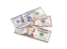 Close up of different dollar bills. Stock Images