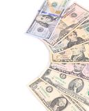 Close up of different dollar bills. Royalty Free Stock Photography