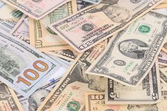 Close up of different dollar bills. Royalty Free Stock Images
