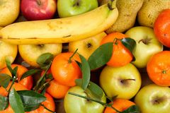 Close up of different fruits , apples, tangerines, banana Stock Photos