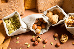 Close-up on different kinds of nuts Royalty Free Stock Image