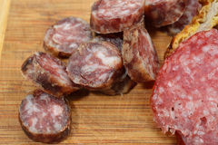 Close up of different meat products (sausages, salami, breaded c Stock Image