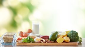 Close up of different natural food items on table Stock Photo
