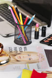Close up of a different pencil's colour in a fashion desk. stock images