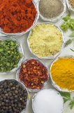 Close up of different spices in shiny bowls on a white wooden ta Royalty Free Stock Photos