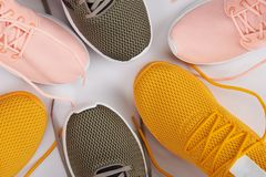 Close-up of different sport running shoes. Above top view royalty free stock photos