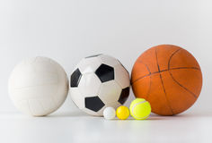 Close up of different sports balls set Stock Image