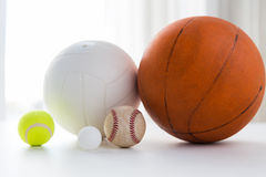 Close up of different sports balls set Royalty Free Stock Images