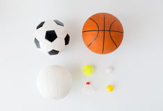 Close up of different sports balls and shuttlecock Stock Photo