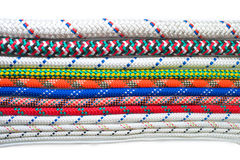 Close up of different types of ropes and cords. On white background Stock Images
