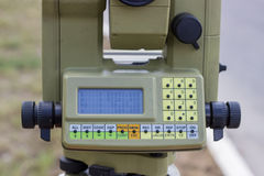 Close up of digital display on total station Stock Images