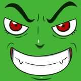 Evil smiling face isolated in green color. Close-up digital illustration of a evil smiling face isolated in green color Royalty Free Stock Images