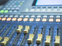 Close up of digital mixing console for recording studio stock photos
