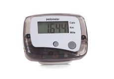 Close-up of digital pedometer Stock Photos