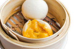 Close up Dim Sum in Bamboo Steamed Bow on white background Stock Photos