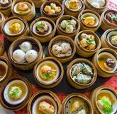 Close up dim sum chinese food in bamboo basket stock images
