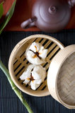 Close up dimsum. In bamboo tray Royalty Free Stock Photography
