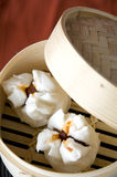 Close up dimsum tray open Royalty Free Stock Images