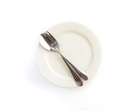 close up dinning the silverware fork , spoon and knife with dish Stock Photos