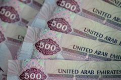 Close-up of 500 dirhams banknotes, the official currency of the United Arab Emirates. Finance background royalty free stock image