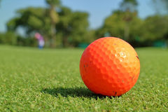 Close up dirt golf ball on grass with blurred green golf cou Stock Photos