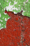 Close up of  dirty, crumbling, red concrete wall Stock Photos