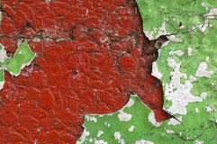 Close up of  dirty, crumbling, red concrete wall Stock Photo