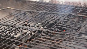Close-up of dirty old grill at open air poor eatery, unsanitary conditions. Stock footage stock video