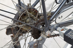 Close up Dirty Parts of the bike, Bicycle rear wheel Part Royalty Free Stock Photography