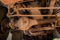 Dirty Suspension 4WD. Close Up Dirty 4WD Suspension Cover By Mud Stock Images