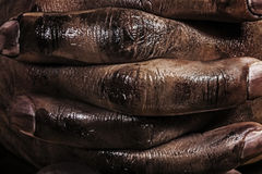 Close up of a dirty worker hands.  Royalty Free Stock Photos