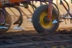Close up of a disc harrow system, cultivate the soil. Close up of a harrow system cultivate the soil stock photography