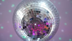 Close up of disco ball at the party. Close up shot of spinning and sparkling disco Ball. Concept of night party stock video footage