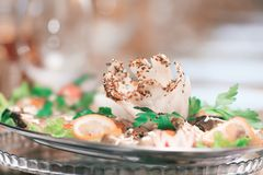 Close up.the dish at the restaurant on blurred background.  royalty free stock photo