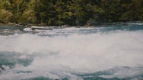 Close-up disparado da espuma em águas raging do rio rápido perigoso Niagara, de ondas rápidas do whitewater e de árvores no banco filme
