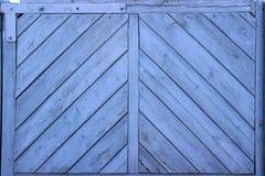 Close-up disparado da parede de madeira azul imagens de stock