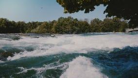 Close-up disparado de árvores verdes calmas sobre a pressa do rio rápido perigoso Niagara com espuma do whitewater na corredeira  filme